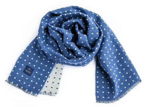 błękitny dwustronny szal wełniano-bawełniany