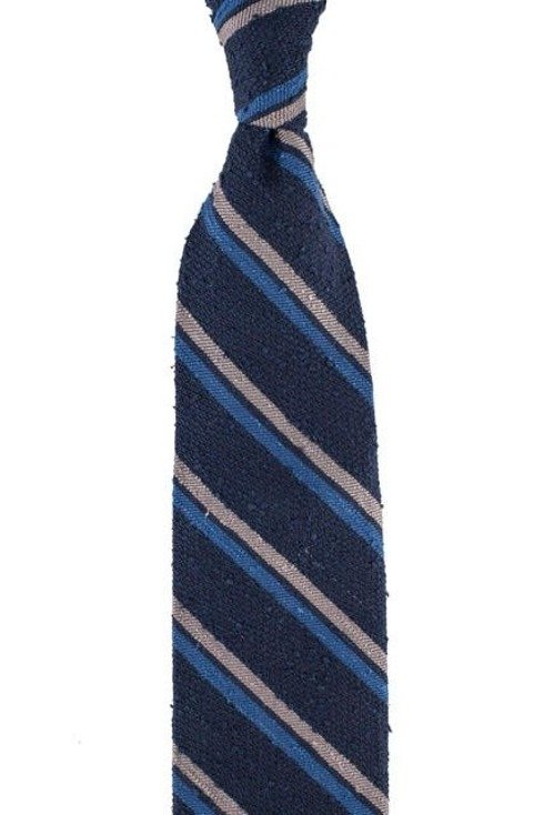 BLUE NAVY-WHITE-GREY SHANTUNG TIE REGIMENTAL
