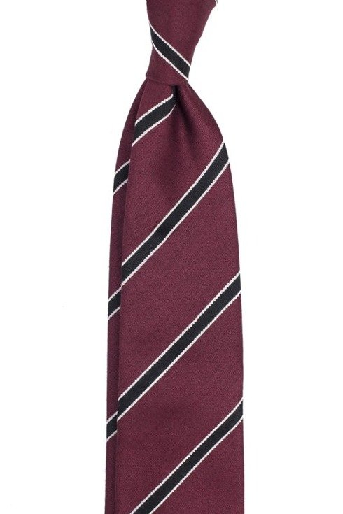 BURGUNDY AND NAVY REGIMENTAL UNTIPPED HANDROLLED TIE