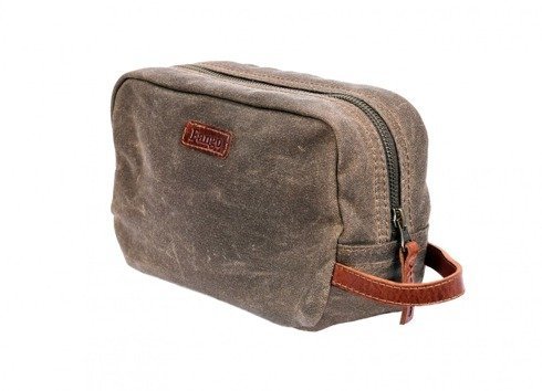 Brown waxed cotton toiletry bag