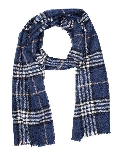 CHECKED BLUE CASHMERE SCARF