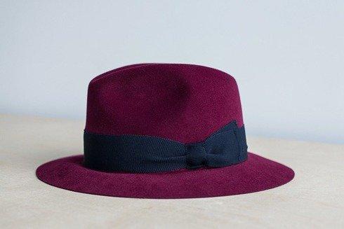 Fedora hat burgundy