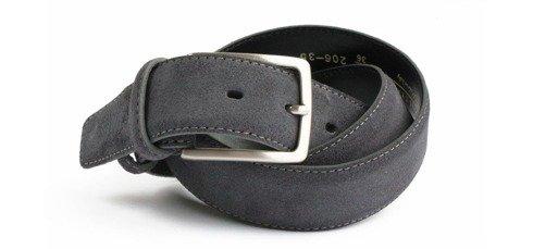 Graphite suede leather belt