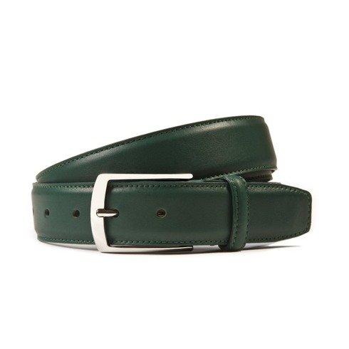 Green calf leather belt