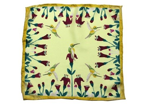 Hummingbirds silk pocket square