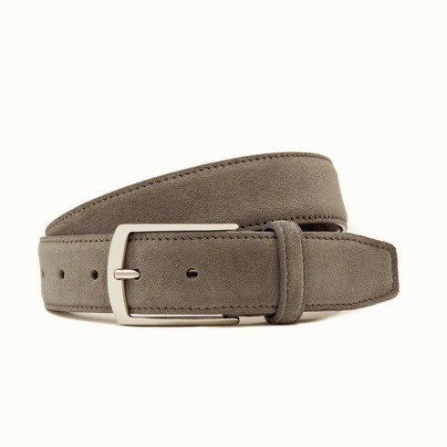 Light Grey suede leather belt