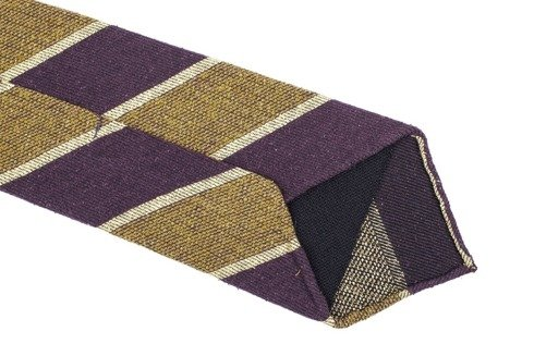 MUSTARD & PURPLE Raw silk tie