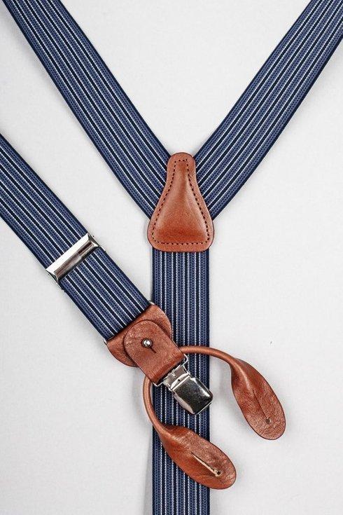 Navy stripped elastic braces 3,5 CM