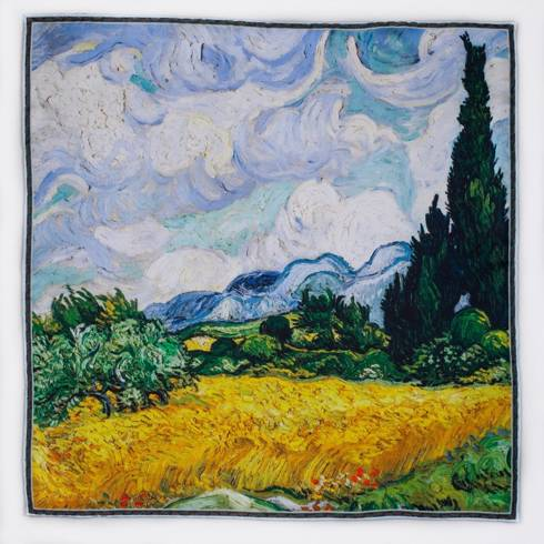Pocket square 'A Wheatfield with Cypresses' Vincent Van Gogh