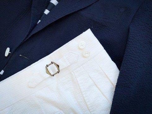 Preorder: pleated seersucker trousers 'Alfred I'