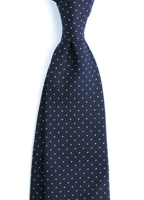SIX FOLD SILK POLKA DOTS NAVY TIE