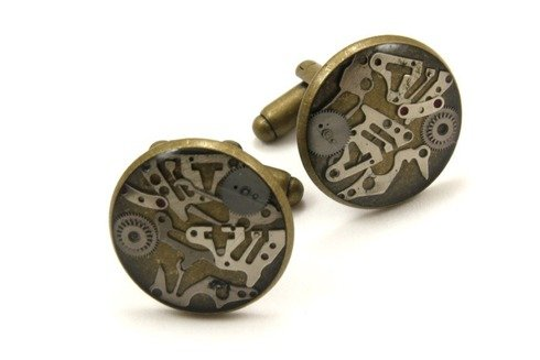 SPINKI mankietowe z elementami mechanizmu zegarowego