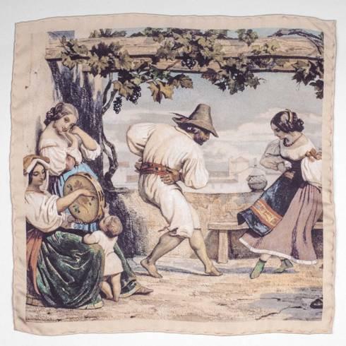 Silk Pocket Square 'La Saltarelle' dance