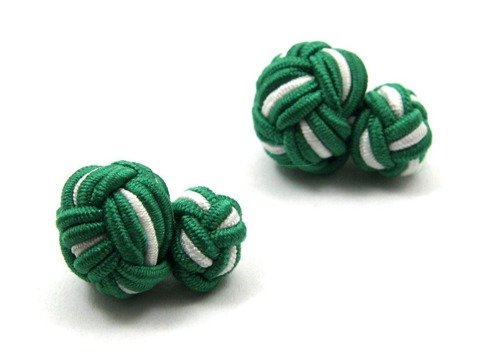 Silk knots green and white