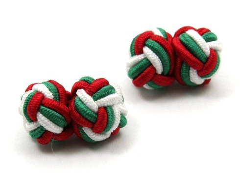 Silk knots green, white and red