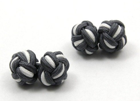 Silk knots white and grey
