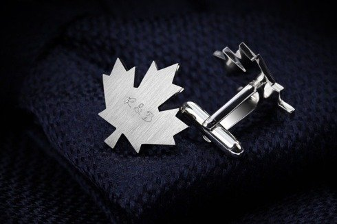 Silver Cuff Links Maple Leaf