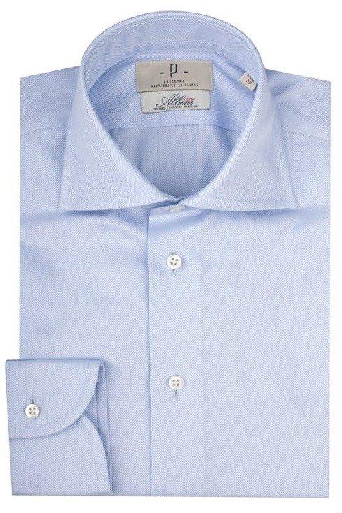 Sky blue semi-cutawaycollar shirt Albini