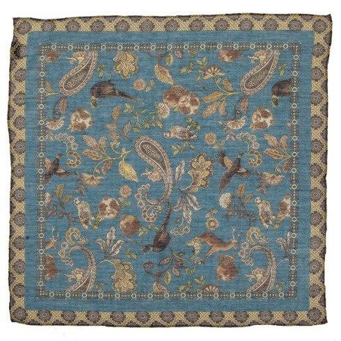 animal motif printed cotton & cashmere pocket square 40 cm