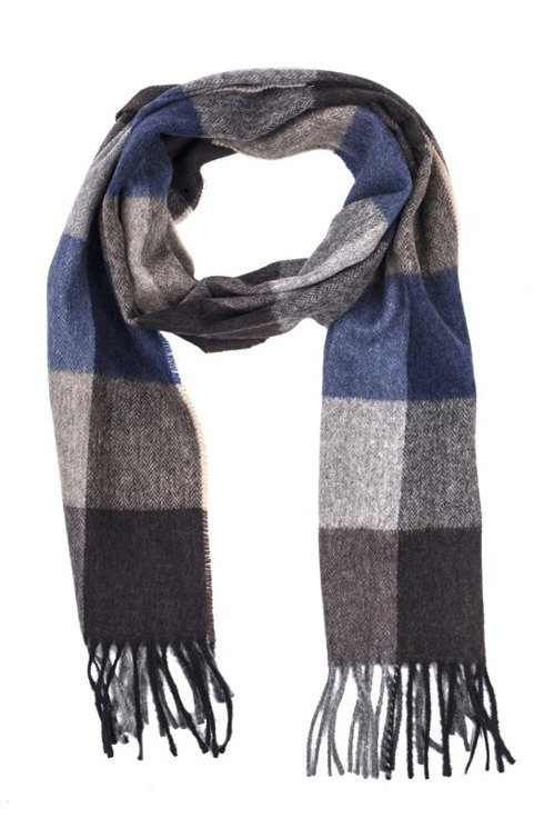 beige & blue scarf with cashmere