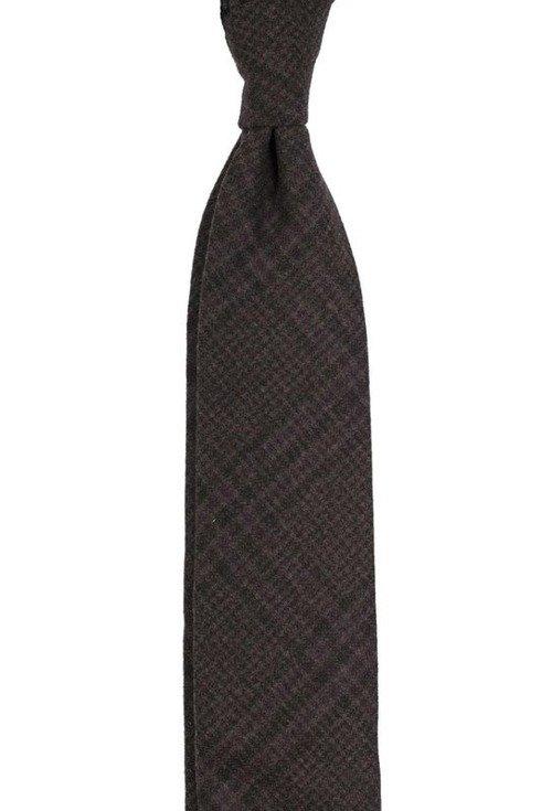 brown check cashmere TIE