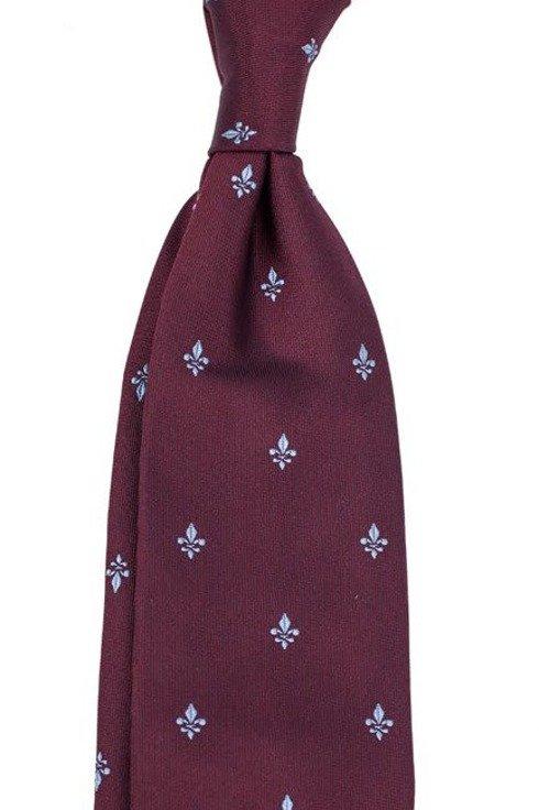burgundy SIX FOLD TIE with fleur-de-lis