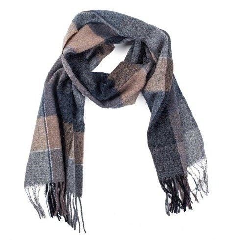 grey & beige checkered woolen scarf