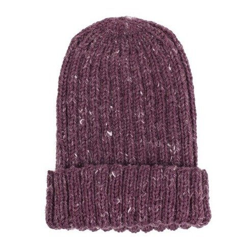 hand kniting burgundy tweed beanie