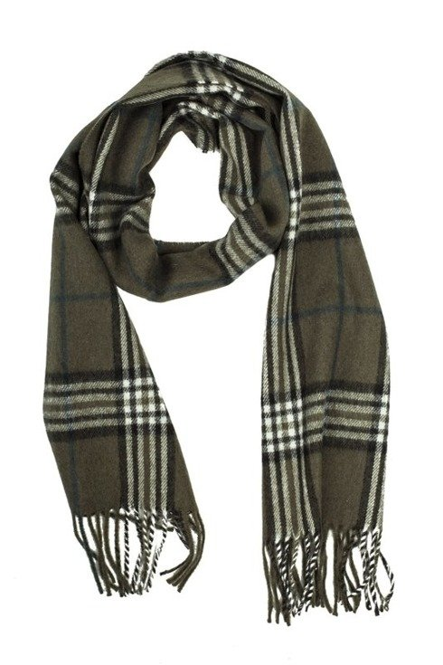 olive green cashmere & wool classic scarf