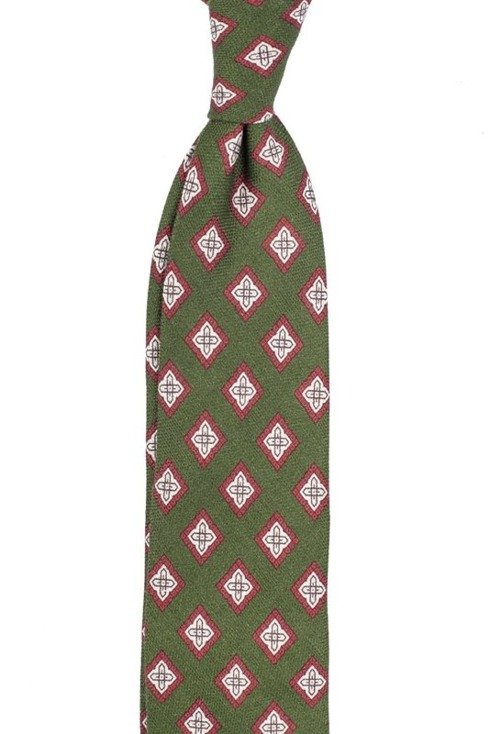 self-tipped printed linen green TIE