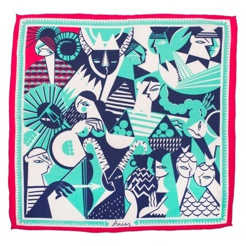 silk pocket square zodiac Aries