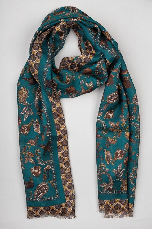 turquoise printed scarf muslin wool and silk