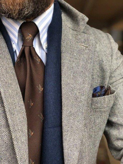 untipped wool challis tie brown duck