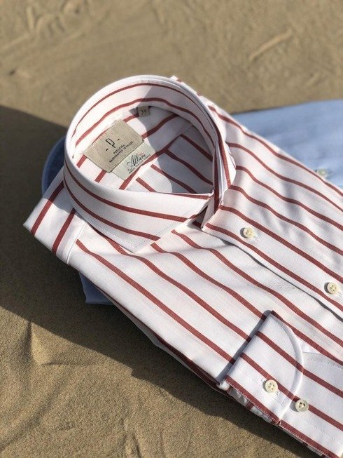 white & burgundy bengal Albini cotton shirt