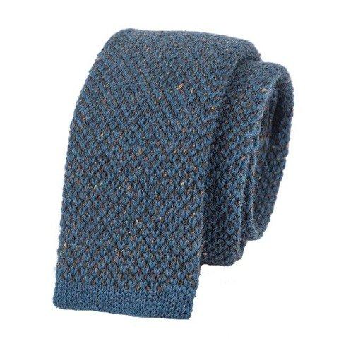 woolen blue marine donegal knitted tie