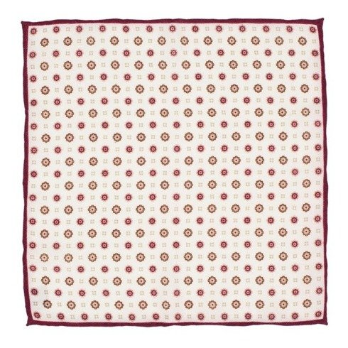 woolen burgundy flowers pocket square