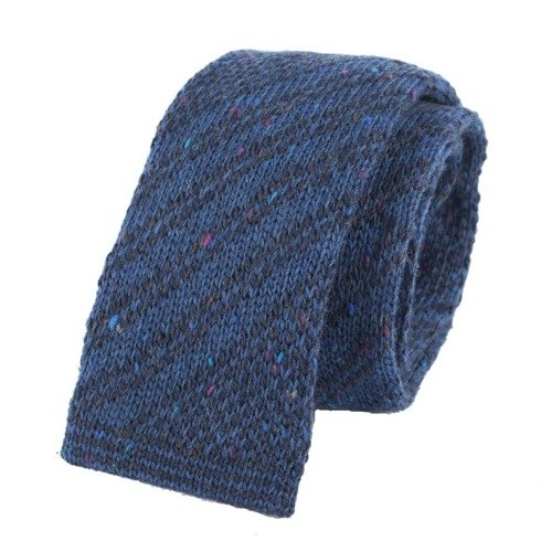 woolen navy & dark gray knit tie