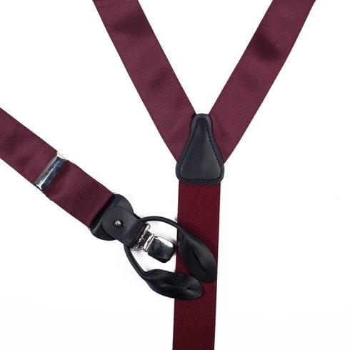 BRACES 3,5 CM CLIPS & BUTTONS burgundy SATIN SILK