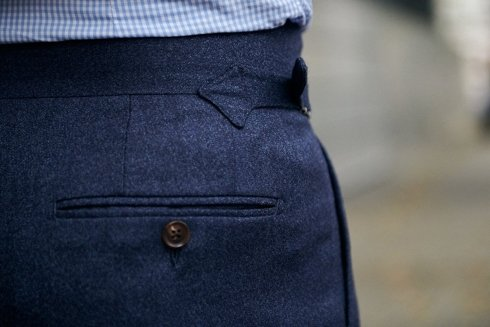 Blue flannel trousers