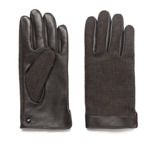 Brown herringbone gloves