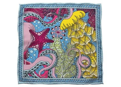 Coral Reef silk pocket square