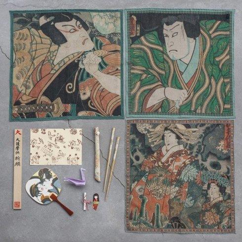 Japanese collection Kunisada Utagawa, actors Ichikawa Danjuro VII i Ichikawa Danjuro V