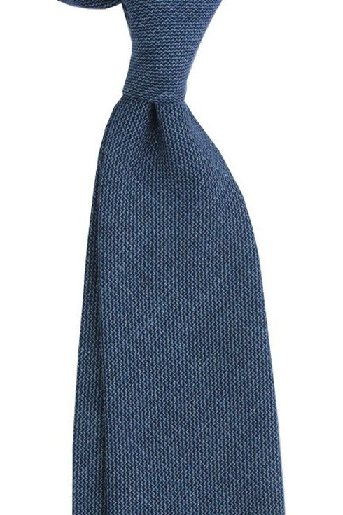 Linen blue untipped tie