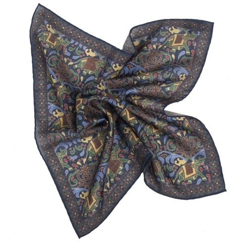 NAVY AND GREEN macclesfield pocket square