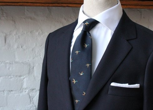 NAVY BLUE silk tie duck