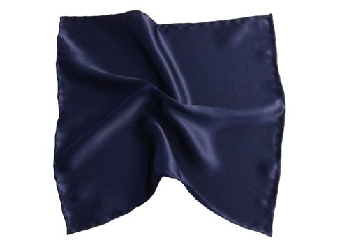 NAVY SILK SATIN POCKET SQUARE