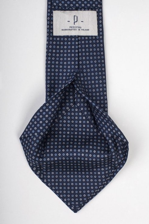 Navy six fold printed silk tie