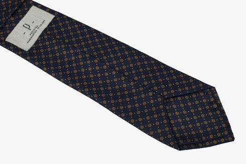 Navy & yellow six fold printed silk tie
