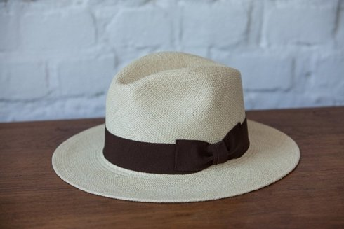 Panama hat natural with brown rep
