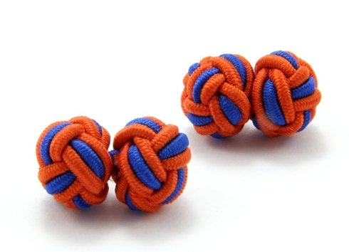 Silk knots blue and orange